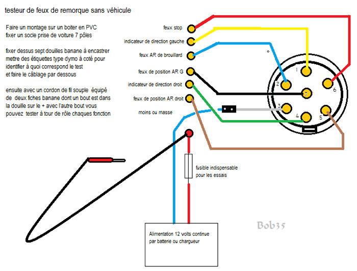 testeur de remorque 7 pins led c blage de circuit et prise 12v. Black Bedroom Furniture Sets. Home Design Ideas
